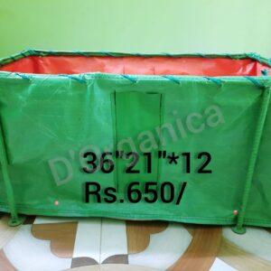 Big rectangular grow bag with stand